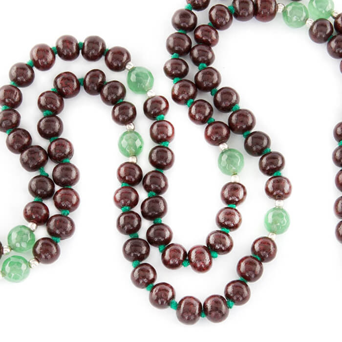 Rosewood and Green Onyx 108 Bead Mala #2