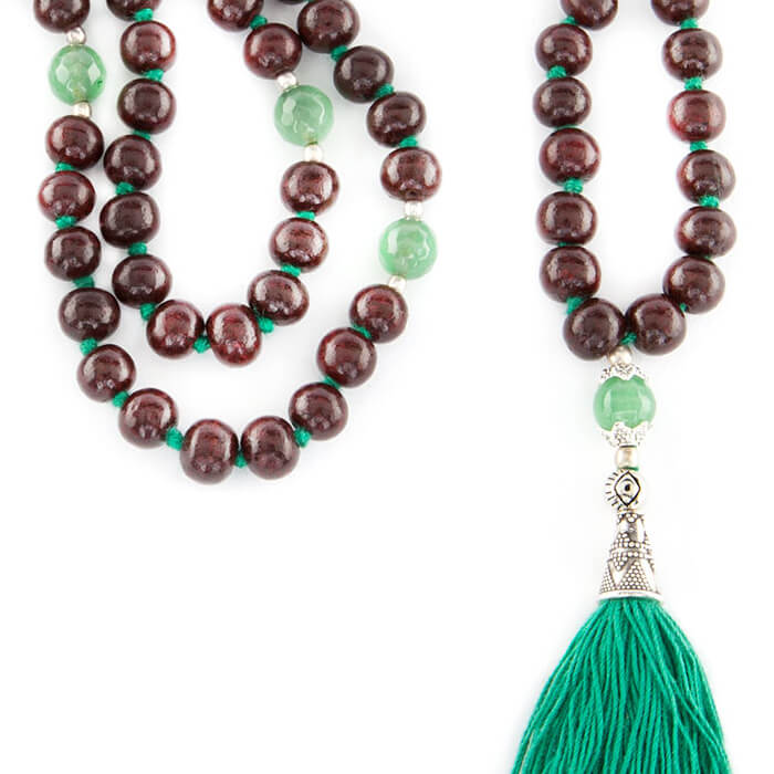 Rosewood and Green Onyx 108 Bead Mala #3