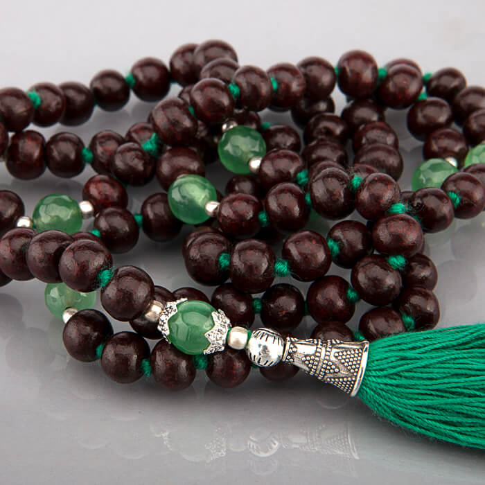 Rosewood and Green Onyx 108 Bead Mala #4