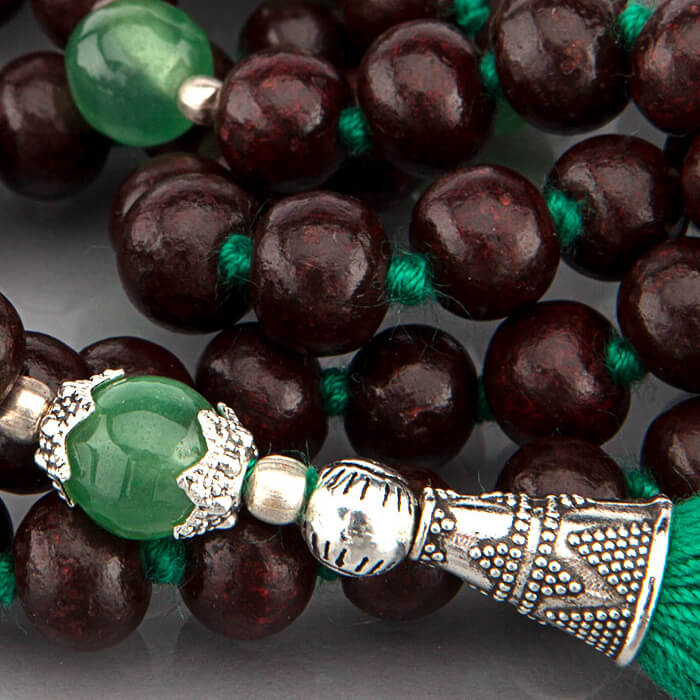 Rosewood and Green Onyx 108 Bead Mala #5