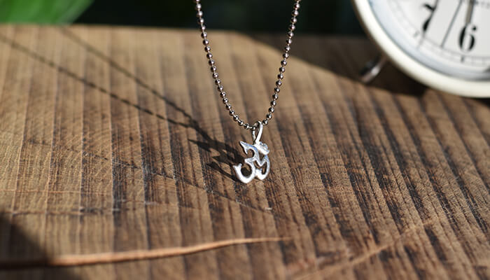 Silver Om Necklace on a ball chain #2