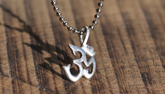 Silver Om Necklace on a ball chain #3