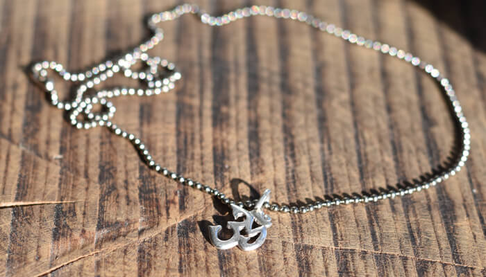 Silver Om Necklace on a ball chain #4