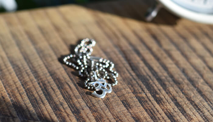 Silver Om Necklace on a ball chain #5
