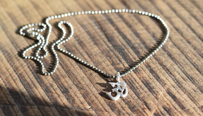 Silver Om Necklace on a ball chain #6