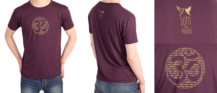 Bamboo Jersey Om Mantra T Shirt in Eggplant