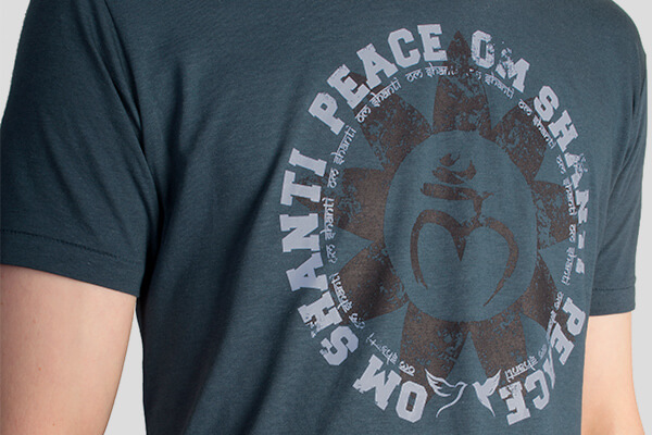 Yoga T Shirt For Men With Om Shanti Peace Design